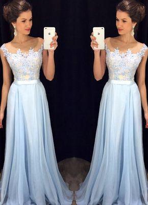 ddea94027e4e Scoop Sleeveless A-line Chiffon Long Prom Dress