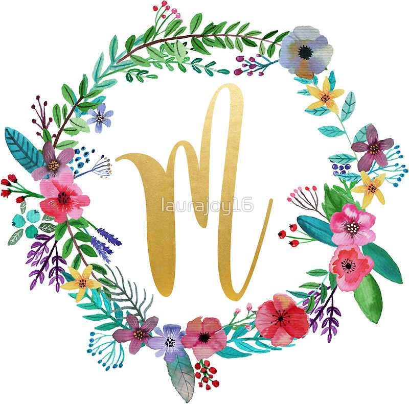 Floral Initial Wreath Monogram M Sticker By Laurajoy16 Floral Monogram Letter Floral Initial Initial Wreath