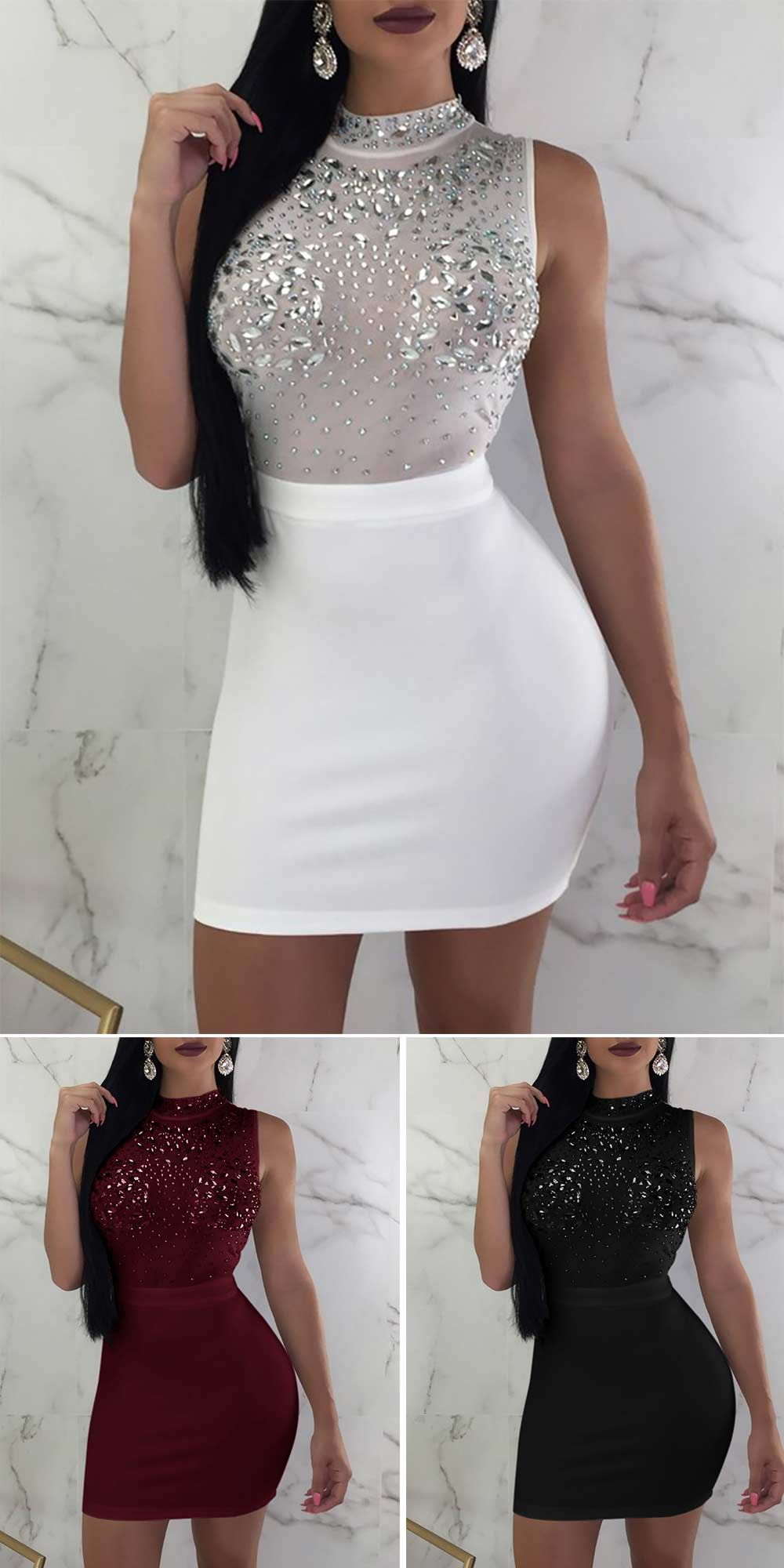 96f0fe5985 Fashion  summer outfits  party dress  Shiny Embellished Mesh Splicing Bodycon  Dress Party Dresses