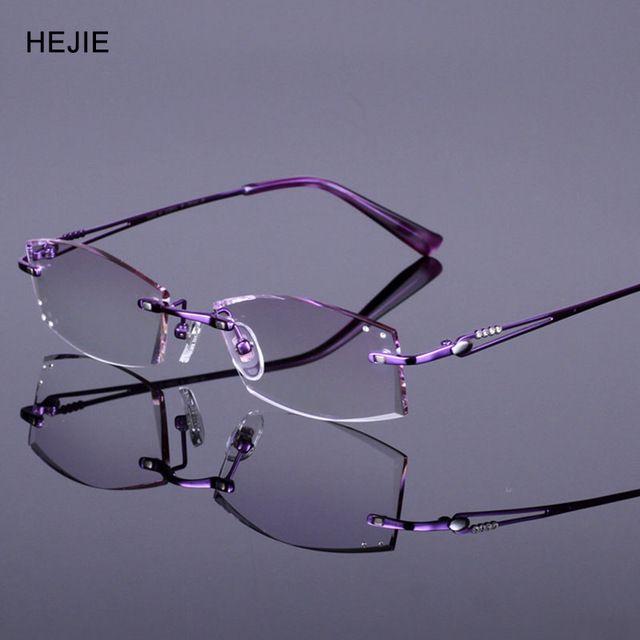 Mujer elegante pure titanium sin rebordes marcos de anteojos de ...