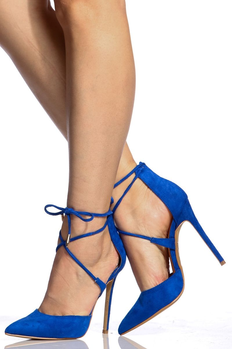 01a9292d2e93 Royal Blue Faux Suede Pointed Toe Lace Up Heels   Cicihot Heel Shoes online  store sales Stiletto Heel Shoes