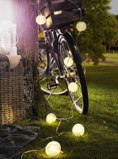 KILOMETER Ikea Lighting Chain W 24 Bulbs, Outdoor, White, Multicolour