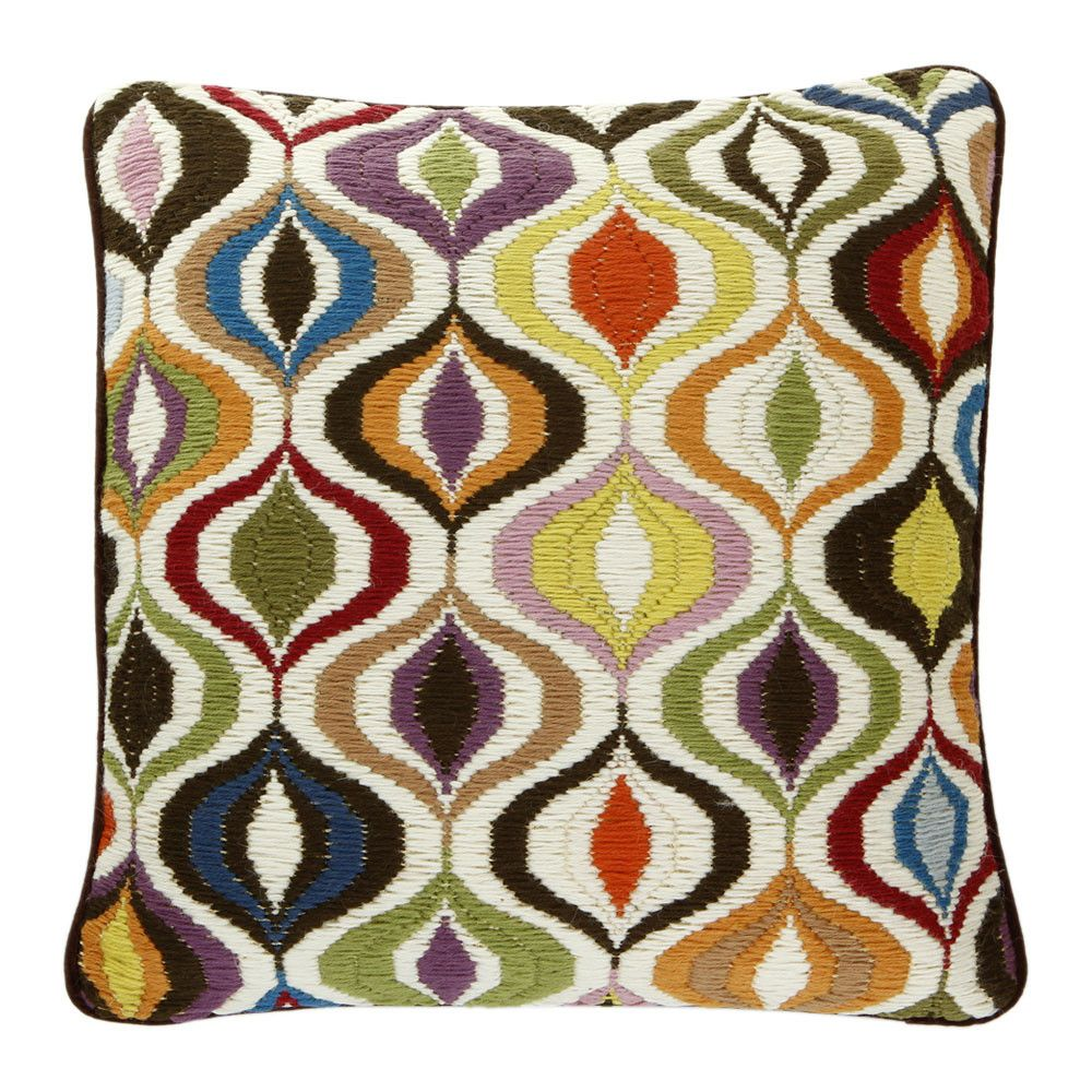 Living Room Beautiful Hand Embroidered Cushion From Jonathan Adler Bargello The Multi Waves Has A Fantastic Geometric Pattern For Vibrant