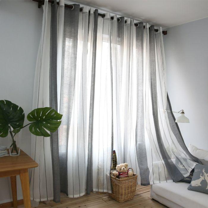 Cortinas dormitorio matrimoio tejido ligero de algod n o for Cortinas para salon blanco y gris
