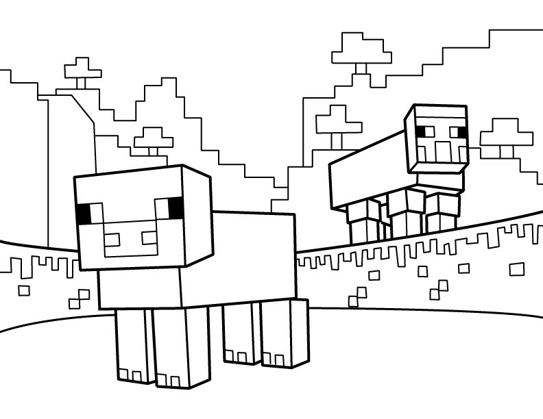 Sheep PDF Printable Coloring Page Minecraft Minecraft