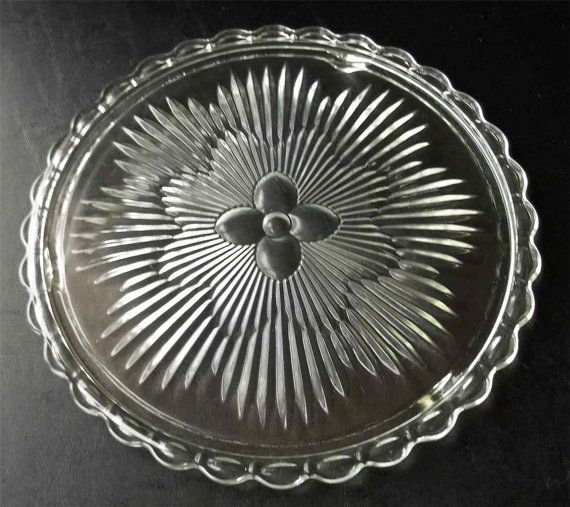 Reduced ANtique Glass footed cake plate depression clear ...