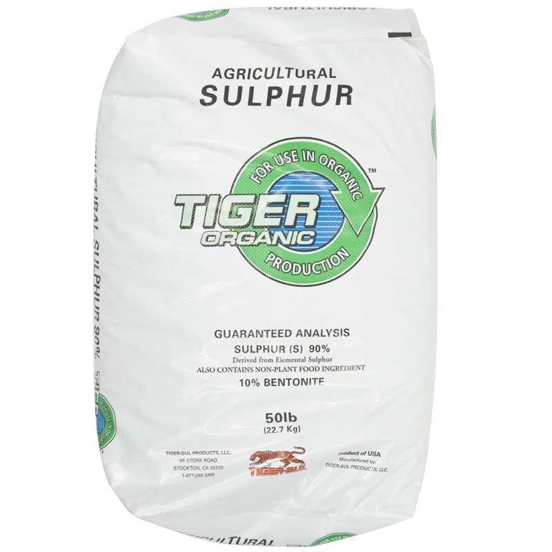 Elemental Sulfur 90% by Tiger Organics 50 lb - Seven Springs Farm Organic Farming & Gardening Supplies LLC