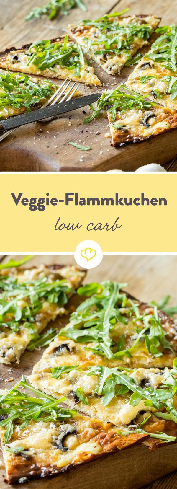 Low-Carb-Flammkuchen mit Rucola und Pilzen #lowcarbeating