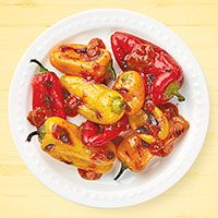 Grilled Mini Peppers with Tom Tom Sauce