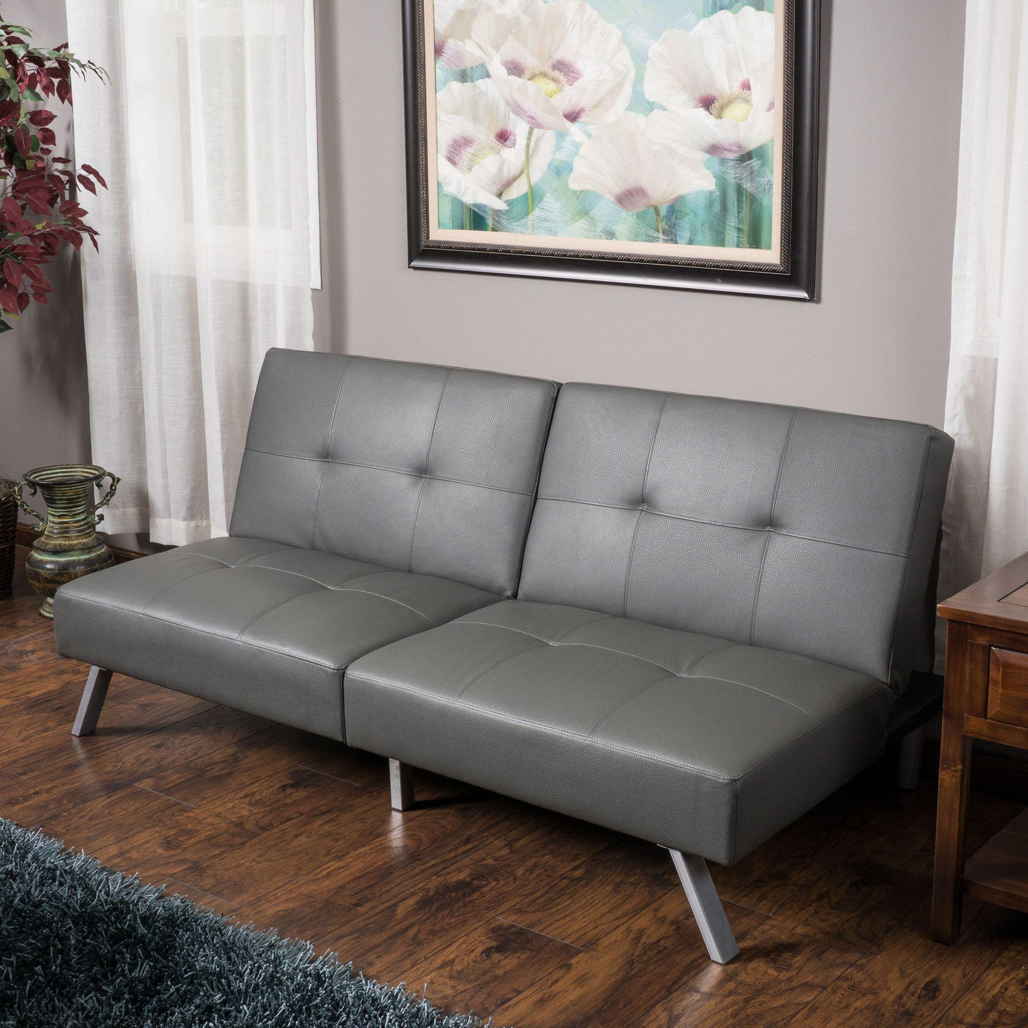 Heston Grey Vinyl Click Clack Futon Sofa Bed Small