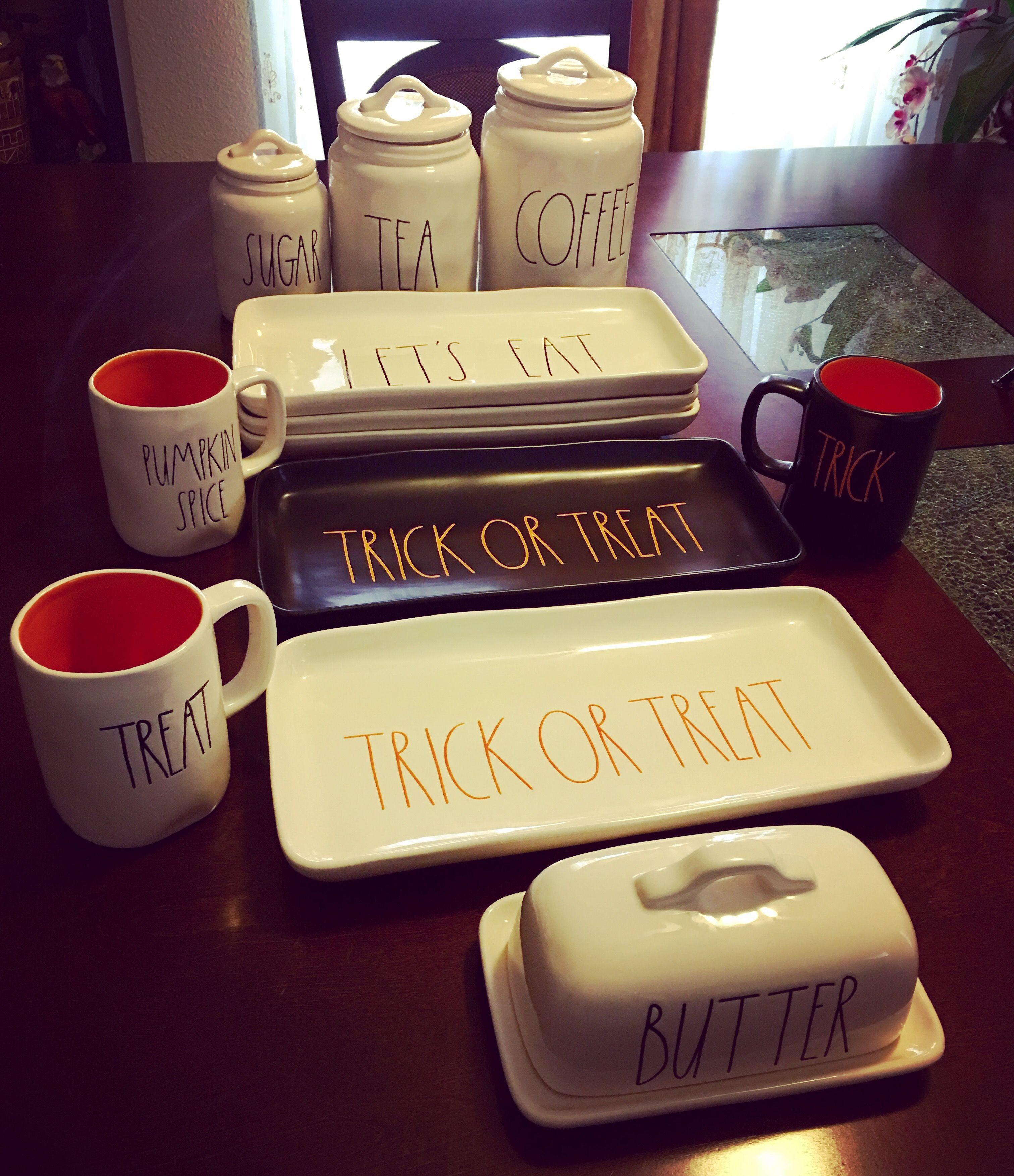 i love these rae dunn halloween mugs and kitchen decor at saturday haul rae dunn collection