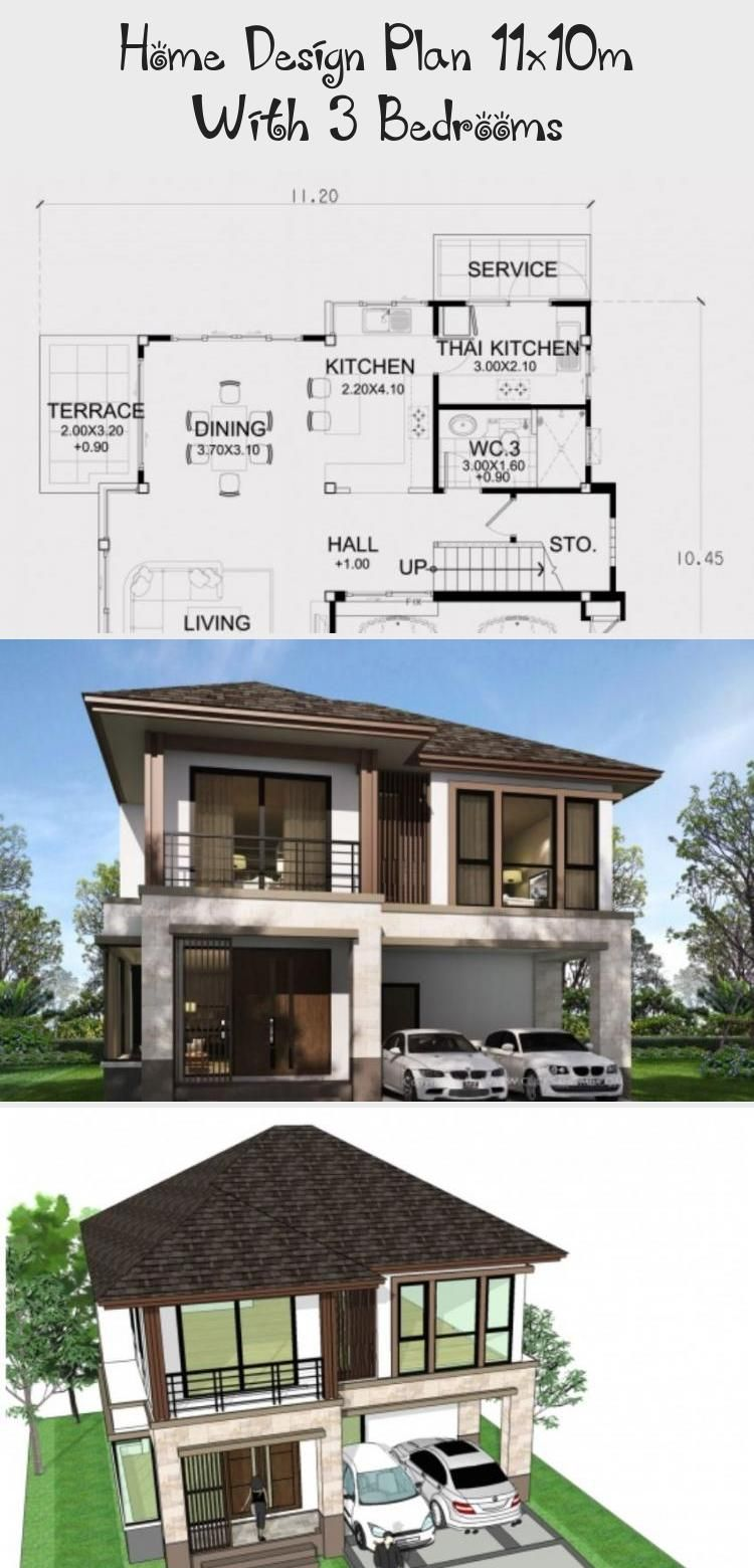Home Design Plan 11x10m With 3 Bedrooms Home Ideas Simplemodernhouseexterior Modernhouseexteriorasian In 2020 Home Design Plan Modern House Exterior House Design