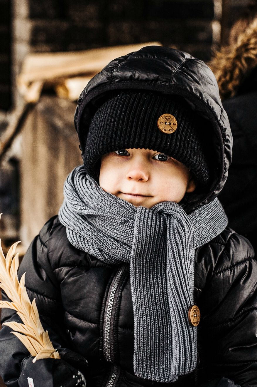 8e3a005bde4 Kids hipster hiking beanie look. Black merino wool beanie and scarf for kids.  Eco