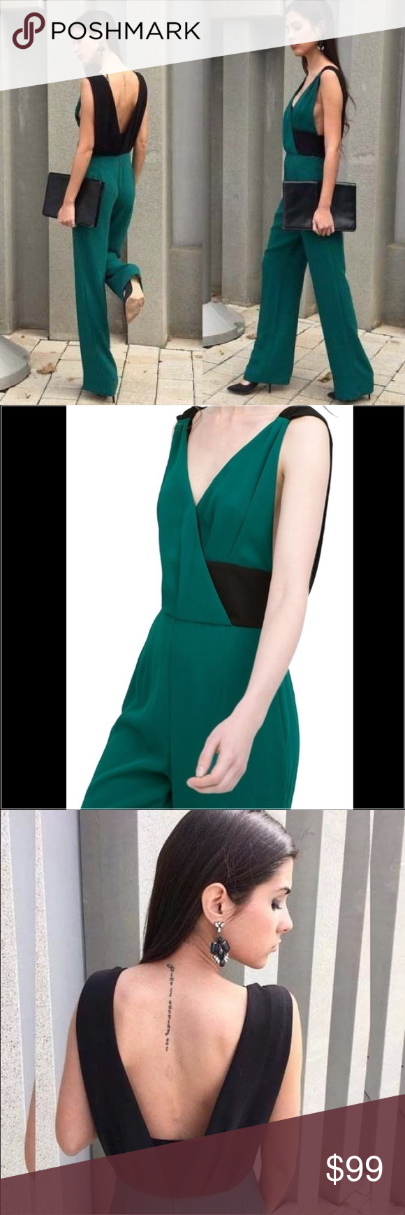 b6d395132a2 Zara Green Black Backles Long Romper Jumpsuit XS ZARA BNWT GREEN EMERALD  LONG COLORED JUMPSUIT Size