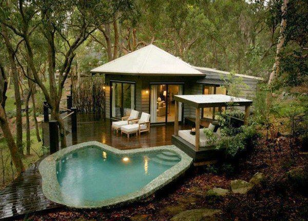 Luxury Tiny Living In Poolside Tiny Cabin T I N Y L I V I N G Pretty Beach House Tiny House Living Tiny Living