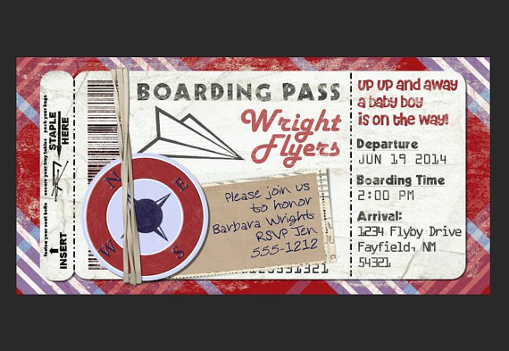 Paper Airplane Boarding Pass Invitation for Birthday Party, Bon