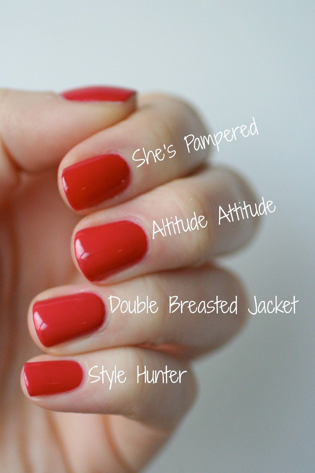 Essie pink-based reds comparison (She\'s Pampered is actually more ...