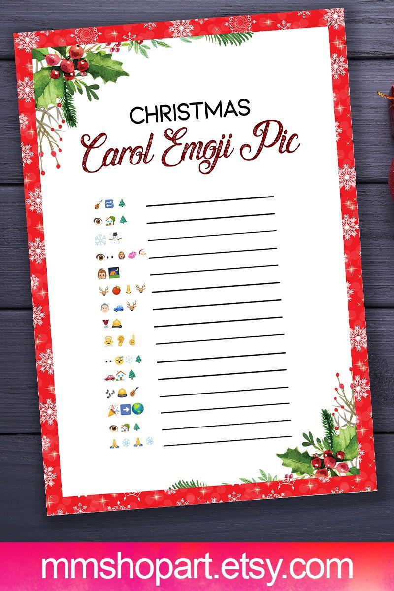 Christmas Carol Emoji Pictionary Game,Christmas Printable