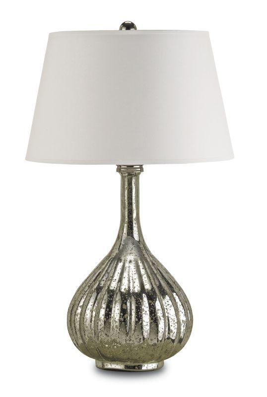 Currey and Company 6678 Libertine 1 Light Mercury Glass Table Lamp with White Pa Antique Mercury Lamps Table Lamps