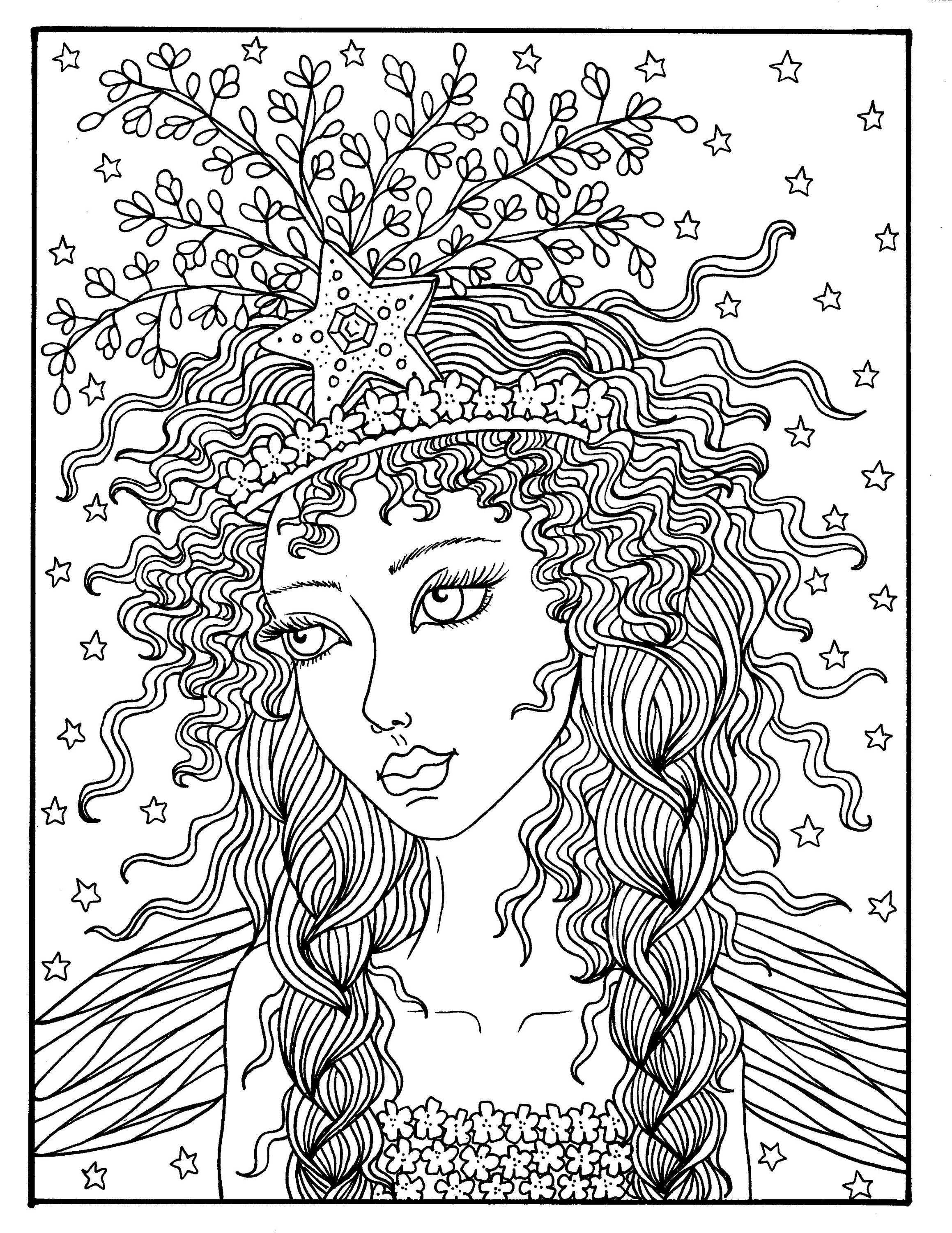 5 Pages Fairies Digital Downloads Instant Coloring Pages Fairy Hair Fairy Adult Color Book