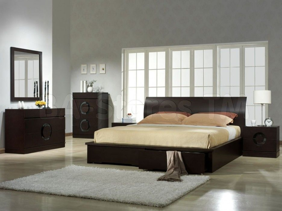 Prague Gothic Black Leatherette 5 Pc Padded Bedroom Set