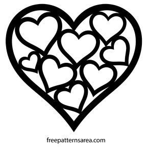 Heart Shaped Vector Template For Valentines Day Heart Shapes Template Heart Template Heart Stencil