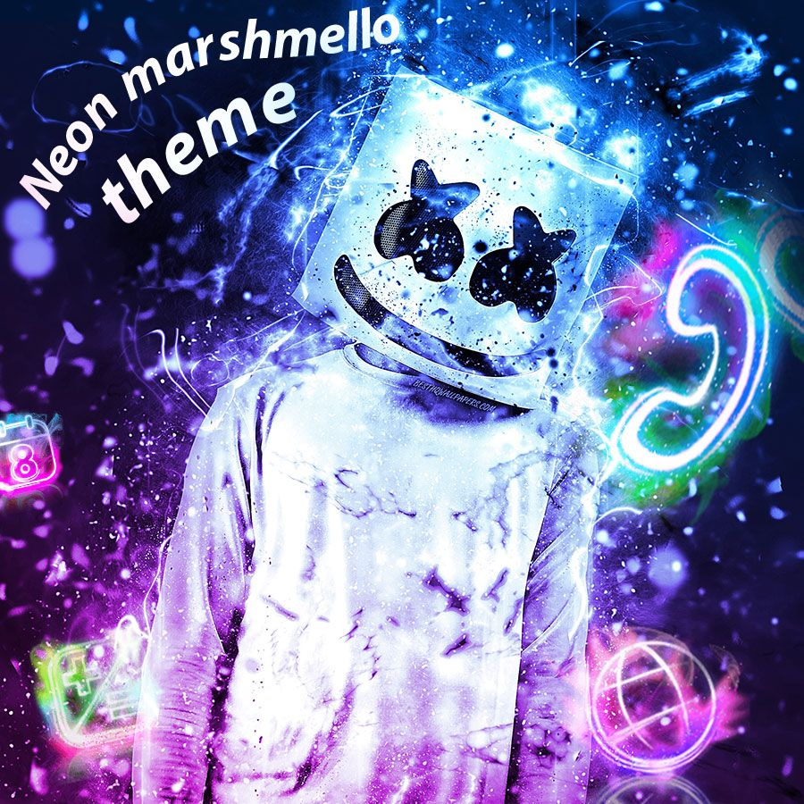 Neon Marshmello Blue Colorful Theme Neon Wallpaper Graffiti Wallpaper Trippy Wallpaper