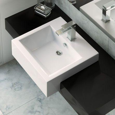 Lavabo semi encastrado / rectangular / de cerámica ...