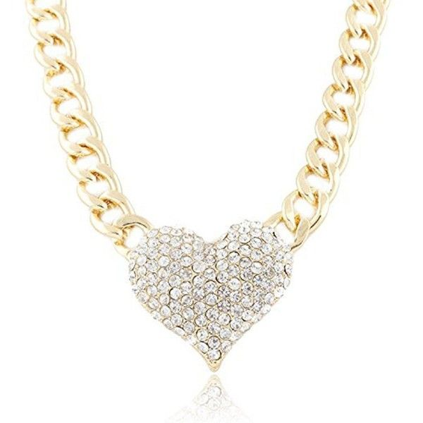 Ularmo 2015 New Hot Fashion Ladies 3D Heart Pendant Adjustable Chain... ($3.99) ❤ liked on Polyvore featuring jewelry, necklaces, hearts, valentine, yellow gold heart necklace, gold pendant necklace, heart pendant, heart pendant necklace and heart shaped necklace