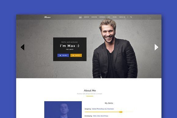 Max CV -Resume HTML Template. HTML/CSS Themes