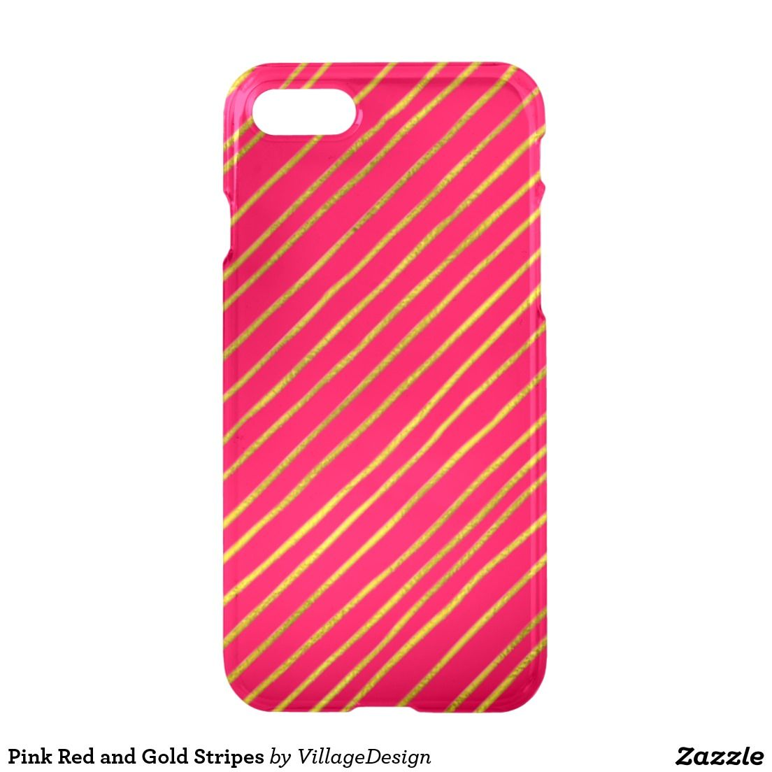 Pink Red and Gold Stripes iPhone 7 Case