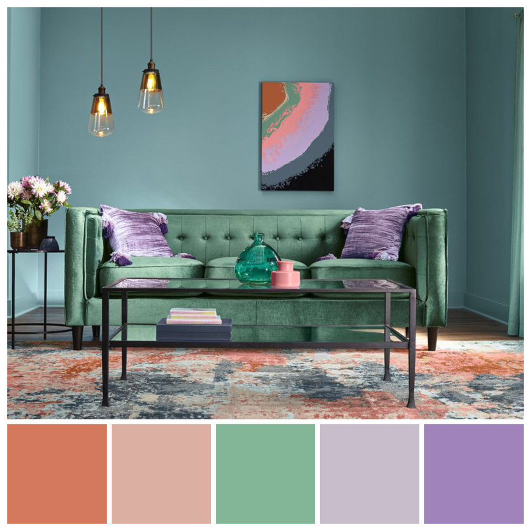 And Now For Something Different Triadic Colour Scheme Featuring Orange Green And P Interior Design Color Schemes Living Room Orange Living Room Color Schemes