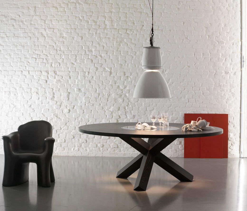 Tavolo rotondo moderno di Mario Bellini 456 PANTHEON