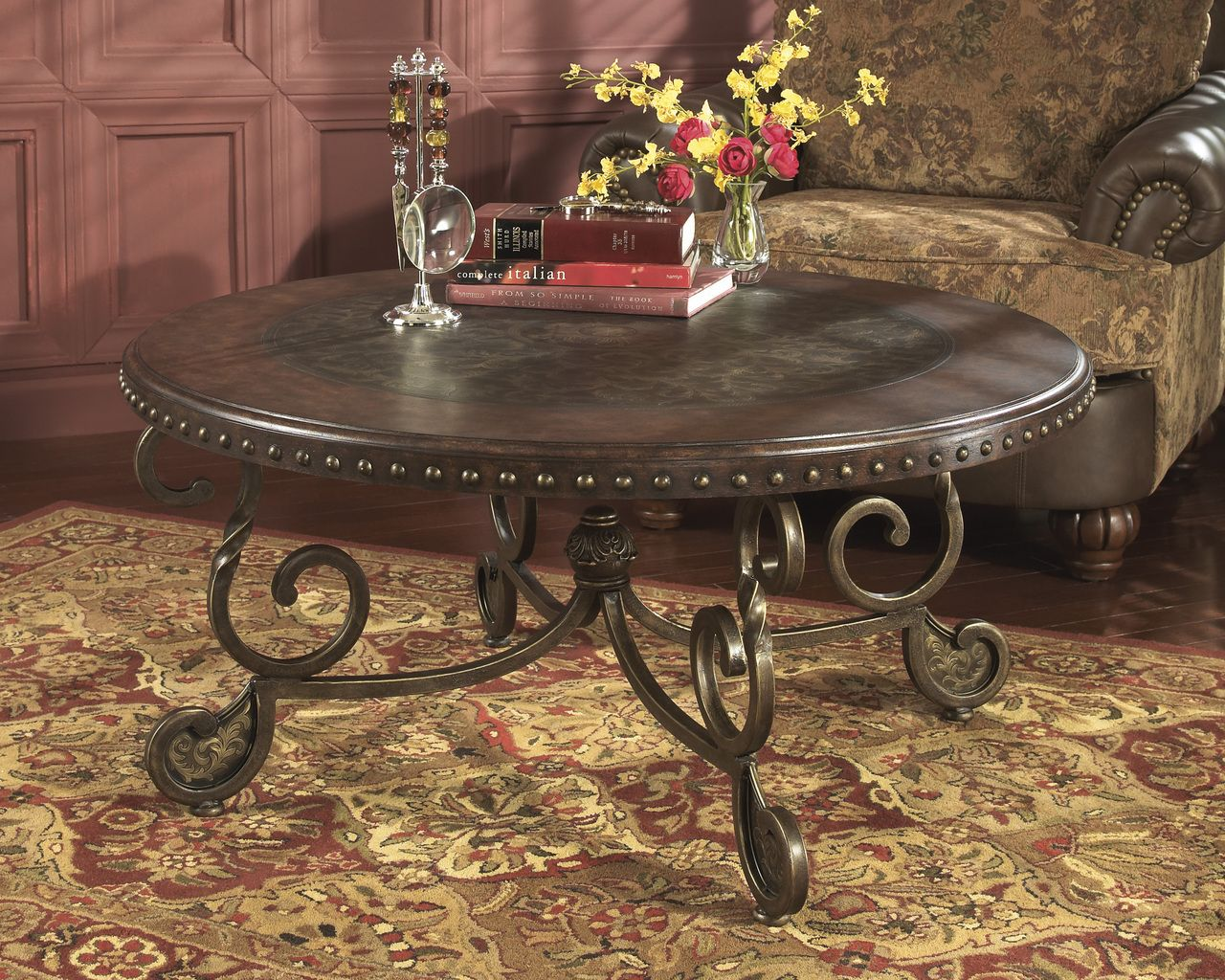 Avere Round Cocktail Table Dark Brown Round Coffee Table