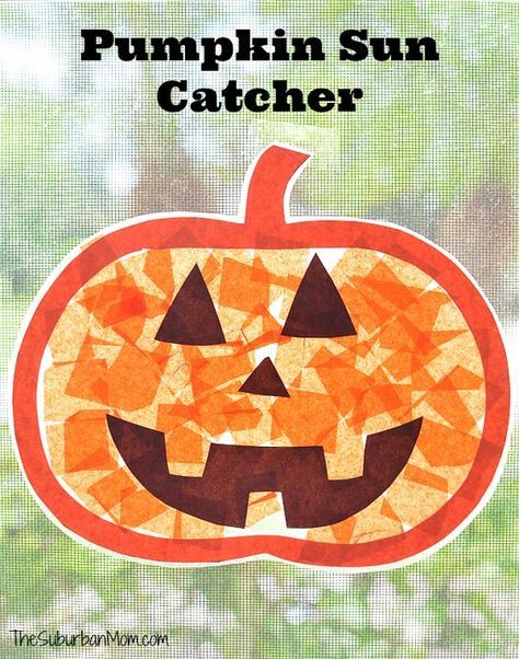 Pumpkin Sun Catcher Kids Craft Halloween Decoration #pumpkincraftspreschool