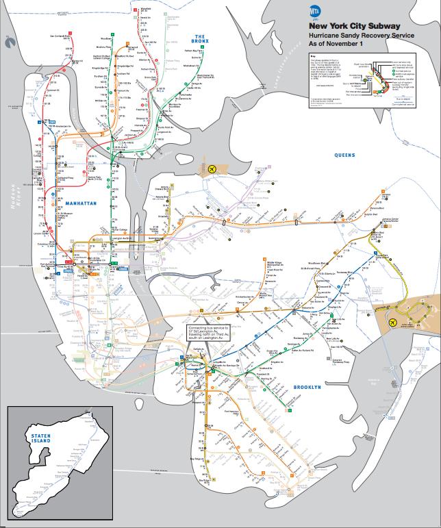 Nyc Subway Map Sandy.Sandy Hurricane Sandy Mta Map New York City Nyc Mta Nyc