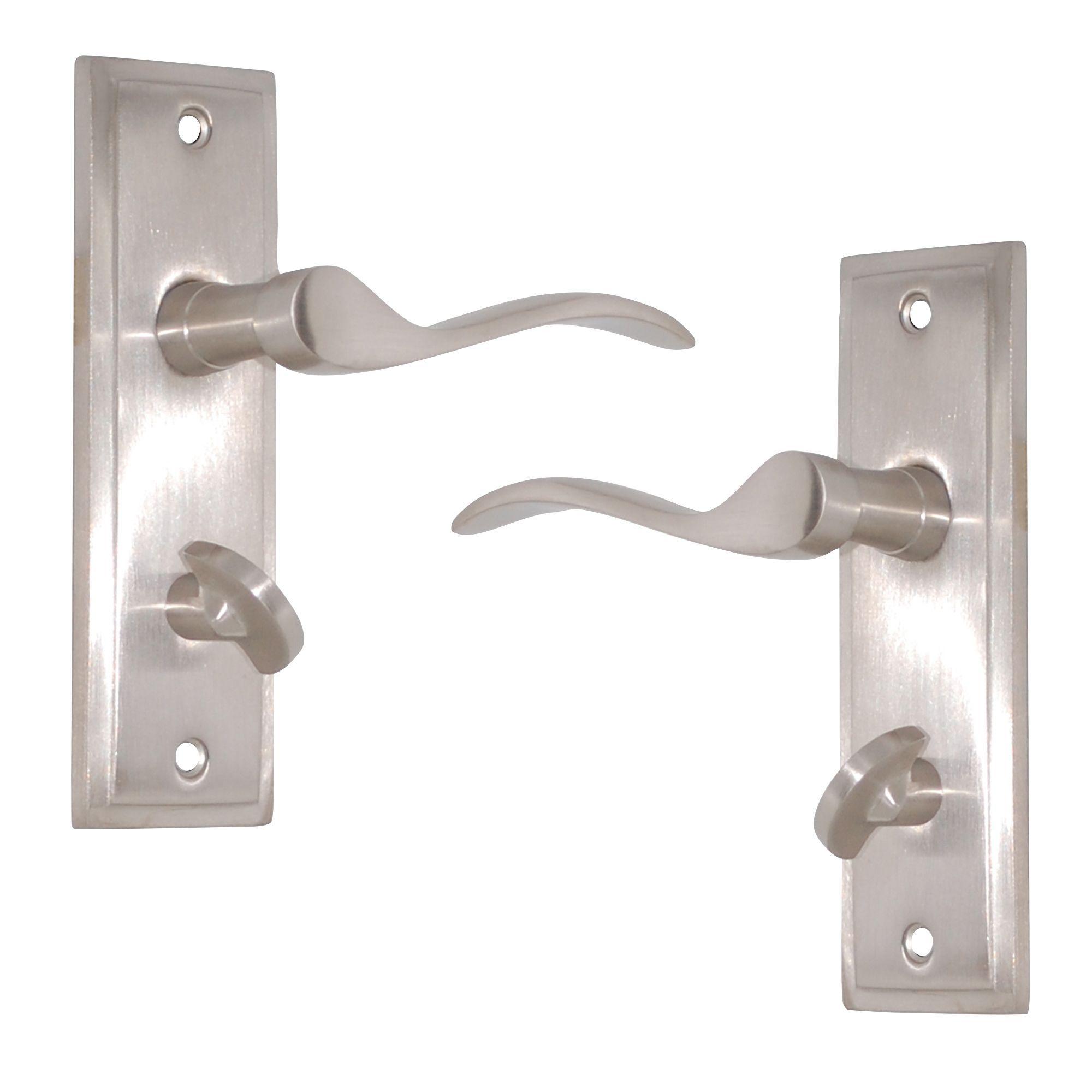 Satin Nickel Effect Internal Scroll Bathroom Door Handle 1 Set B Q For All Your Home And Garden Supplies A Bathroom Door Handles Door Handles Bathroom Doors