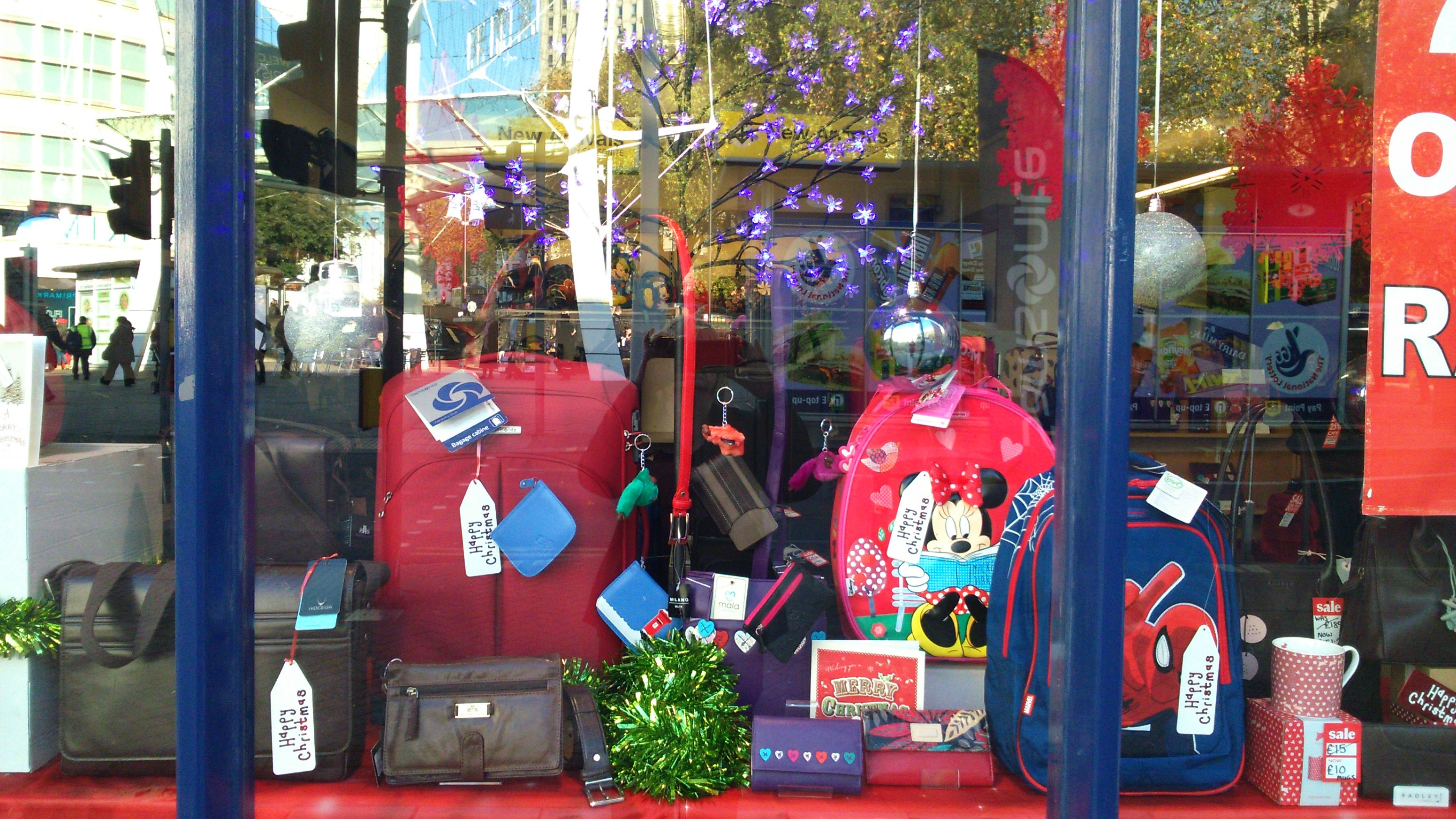 Christmas Window at Luggage and Case Store Bristol. http://www ...