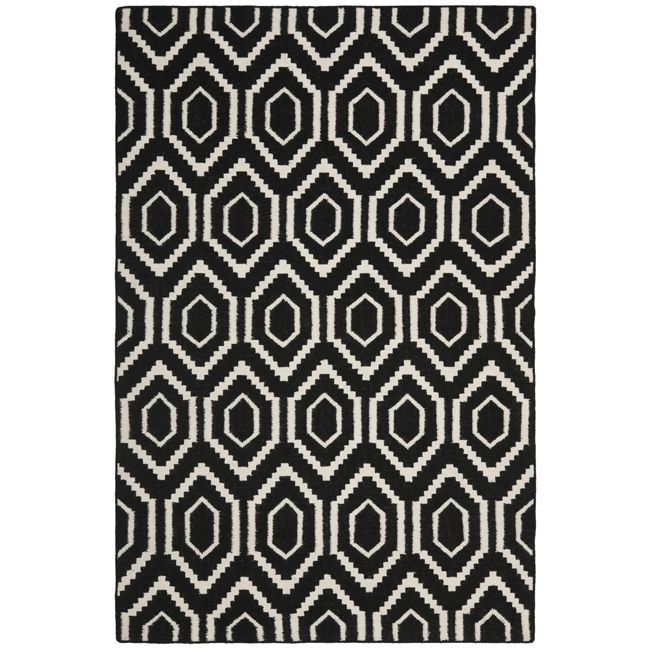 This Handmade Dhurrie Rug Features A Moroccan Inspired Design And Dense Hand Woven Wool Pile