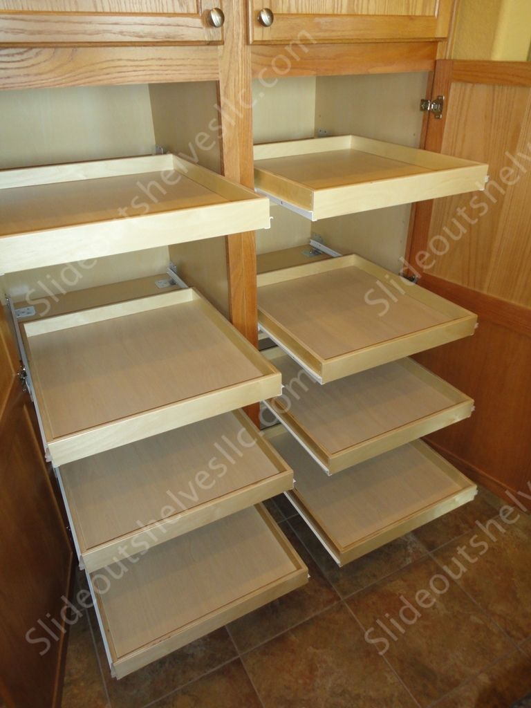 Oak Pantry Cabinet With Slide Out Shelves From Slideoutshelvesllc