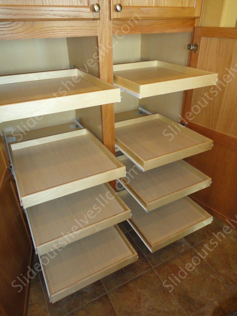 Oak Pantry Cabinet With Slide Out Shelves From Slideoutshelvesllc.com