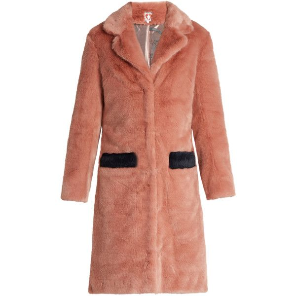 Shrimps Claude faux-fur coat (24.790 RUB) ❤ liked on Polyvore featuring outerwear, coats, light pink, fake fur coats, light pink coat, red coat, imitation fur coats and red faux fur coat