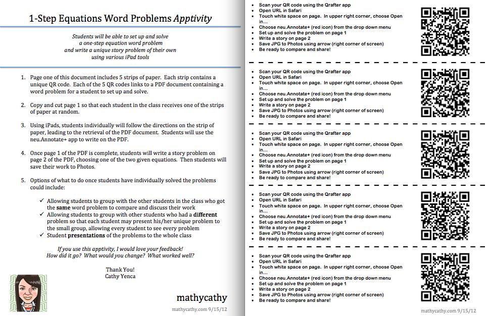 Fantastic MS Math iPad lesson using QR codes and PDF