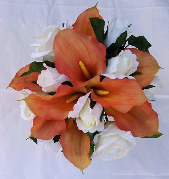 Orange Real Touch Calla Lily Ivory Cream Off-white Roses