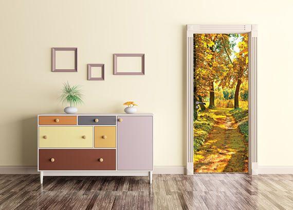 Peinture murale de la forêt porte, forêt porte Wrap, peler et coller