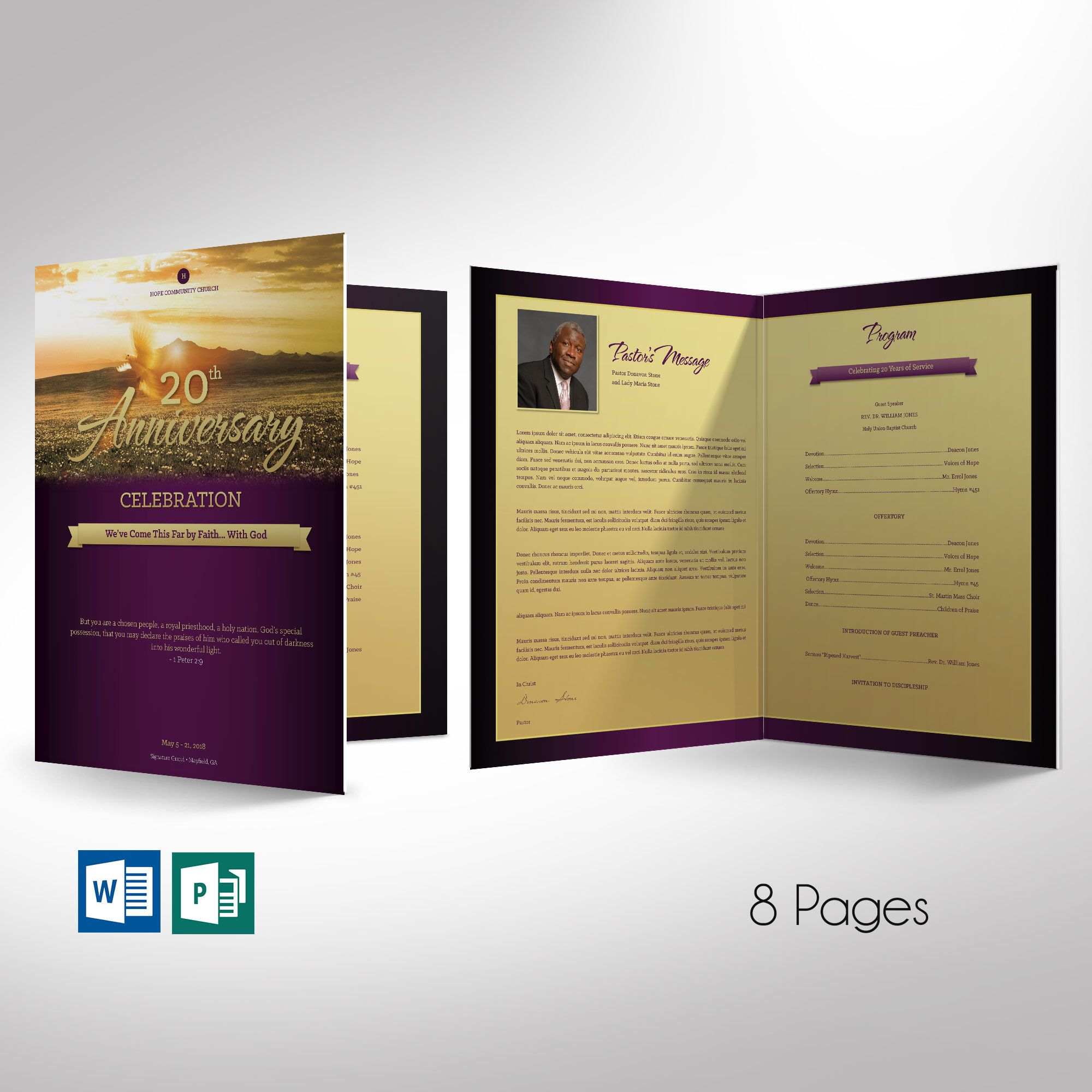 Church Anniversary Program Large Word Publisher Template 4 Pages