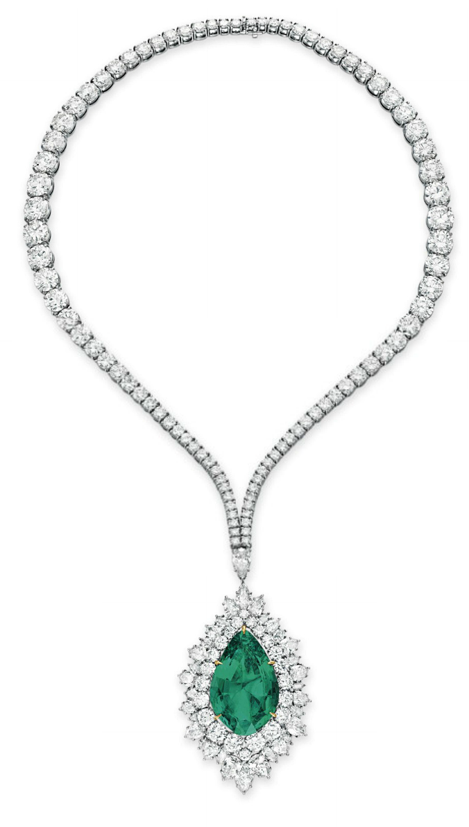 AN EMERALD AND DIAMOND PENDANT NECKLACE BY HARRY WINSTON Suspending