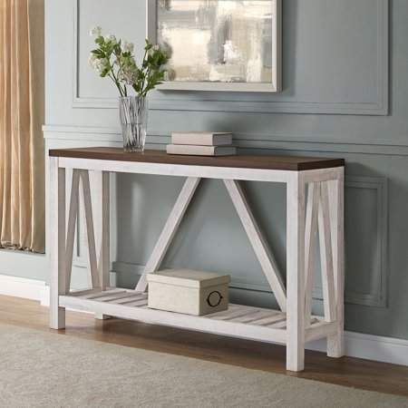 Manor Park Modern Farmhouse And Oak Console Table Dark Walnut White Oak Walmart Com Entry Console Table Oak Console Table Entry Furniture