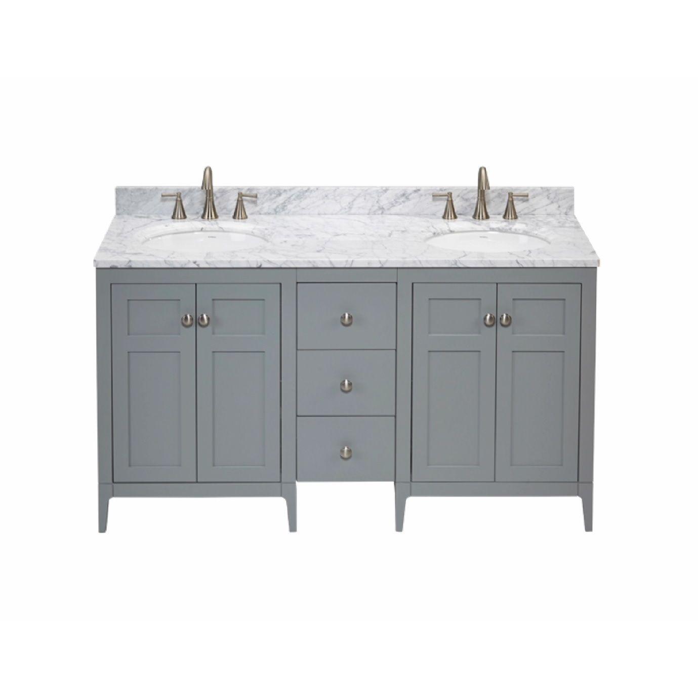Ronbow Briella 60-inch Bathroom Double Vanity Set in Ocean Grey with ...