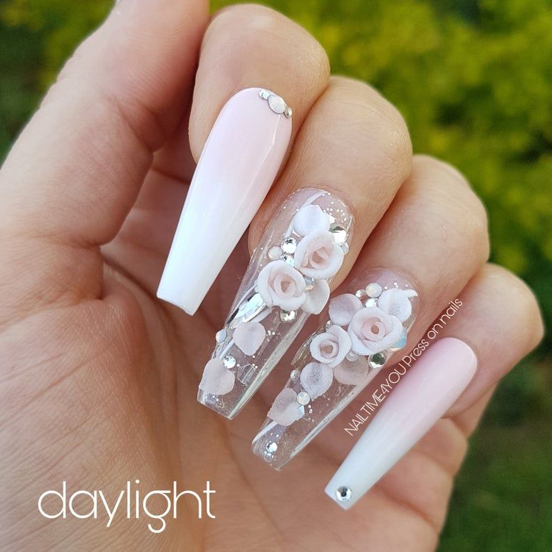 Press on set ROSE LOVER, pink and white nails, cof